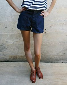 Vintage high-waist naval shorts from Mohawk General Store.