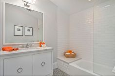 glass shower white subway tile marble honed floor - Google Search