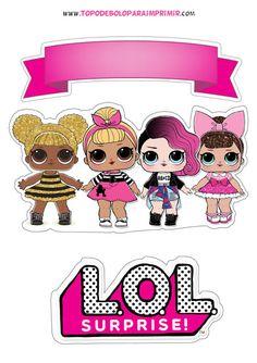Topo de bolo lol para imprimir Doll Birthday Cake, Happy Birthday Cake Topper, Lol Doll Cake, Theme Mickey, Girl Birthday Decorations, Doll Party, Lol Dolls, Hello Kitty, Birthday Parties