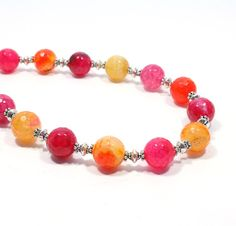 Bright Pink and Orange Agate Necklace  Bright by BigSkiesJewellery