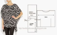 TUNIC PRINTED IN TONE BLACK AND WHITE ~ Templates Fashion by Measure