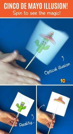Cinco de Mayo - optical illusion game- Cinco de Mayo – Spiel der optischen Täuschung Cinco de Mayo – optical illusion game the - Fun Crafts, Arts And Crafts, Paper Crafts, Science Crafts, Optical Illusions Games, Illusion Games, Diy For Kids, Crafts For Kids, Elementary Art