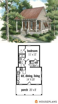 Cottage Style House Plan - 1 Beds 1 Baths 569 Sq/Ft Plan - House Plans, Home Plan Designs, Floor Plans and Blueprints Cottage Style House Plans, Tiny House Cabin, Beach Cottage Style, Cottage Style Homes, Country House Plans, Tiny House Living, Tiny House Plans, Tiny House Design, Tiny Home Floor Plans