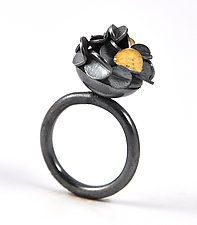 """Small Oxidized Desert Rose Ring by Lori Gottlieb (Gold & Silver Ring) (0.38"""" x 0.38"""")"""