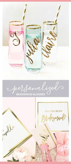 7271f57a3ad5 Personalized Bridesmaid Gift Pink Glasses Mint Glasses Gold Rim Glasses  Bridesmaid Champagne Flutes Personalized Wine Glasses (EB3210)
