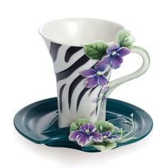 Franz Porcelain's striking Zebra Print Cup and Saucer Set from the Jewels of the Jungle Collection.