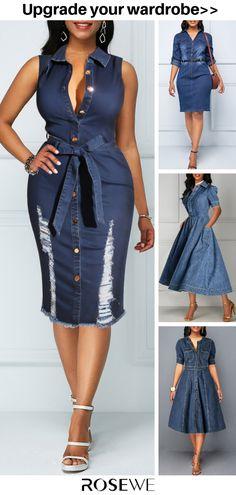 Hot Sale & Sleeveless Button Up Belted Denim Summer Women Chic Fashion Dress - Mode - Summer Dress Outfits Mode Outfits, Sexy Outfits, Stylish Outfits, Fashion Outfits, Womens Fashion, Dress Fashion, African Fashion Dresses, African Dress, Summer Dress Outfits