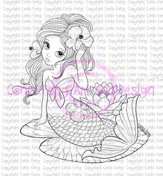 Digital Stamp Digi Digistamp Liliana Mermaid By Conie Fong Coloring Page Girl Fantasy Flower Waterlily