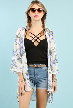 Floral Patterned Open Kimono Cardigan $14.99