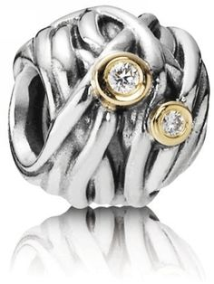 Pandora Woven Together Sterling Silver Bead with 14k Gold and Diamonds
