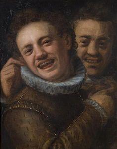 1574 Two laughing men (double self-portrait) - Hans von Aachen