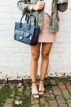 Spring style inspiration via Glitter & Gingham // Ft. Pink Leather Skirt, Leopard Sandals, Utility Jacket, Henri Bendel Tote