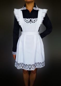 Интернет магазин школьные фартуки купить, Фартук школьный белый из габардина арт. f-10