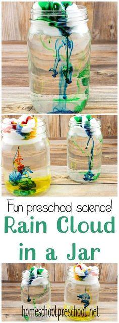 Spring Science for Kids: Make a rain cloud in a jar so kids can see up close how clouds make rain. | homeschoolpreschool.net via @homeschlprek
