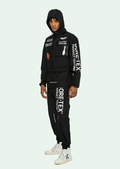 off white gore tex capsule collection pre order october 8 2018 july 5 launch release date info anorak black pants jacket hoodie graphics white Streetwear Jackets, Track Suit Men, Gore Tex, Hoodie Jacket, Gq, Canada Goose Jackets, Black Pants, Crew Neck Sweatshirt, Off White