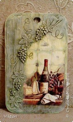 Photo Decoupage Wood, Decoupage Vintage, Wine Bottle Crafts, Bottle Art, Tole Painting, Painting On Wood, Cardboard Art, Clay Art, Altered Art