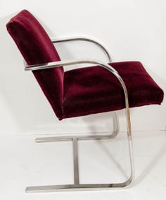 Four Mid Century Milo Baughman Style Armchairs in Chrome and Velvet | From a unique collection of antique and modern chairs at http://www.1stdibs.com/furniture/seating/chairs/