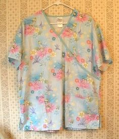Disney-Tinkerbell-Women-039-s-Scrub-Top-Blue-w-flowers-Tinkerbelle-Sz-Large-L