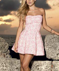 Pink Floral Strapless A-Line Dress | zulily