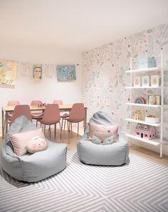 Modern Playroom, Modern Basement, Playroom Design, Playroom Decor, Kids Decor, Family Room Playroom, Little Girls Playroom, Children Playroom, Colorful Playroom