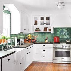 wood floor, dark coutertop, white cabinets, green backsplash - my exact kitchen?!?!
