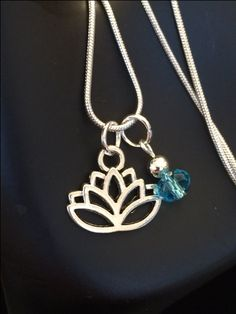 lotus Flower Necklace with Swarovski Crystal Birthstone Charm by RealCoolTreasures on Etsy
