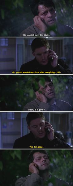 Guys, can we just. The look of relief on Cas's face is just a clear fucking sign for us to see how much of a tole this took on him. How much he cares for Dean. Supernatural Episodes, Supernatural Quotes, Supernatural Fandom, Mary Winchester, Winchester Boys, Strange Addictions, Dean And Castiel, Into The Fire, Cockles