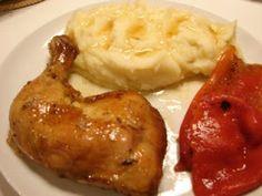 Pulpe de pui la cuptor, Rețetă Petitchef Mashed Potatoes, Ethnic Recipes, Food, Whipped Potatoes, Smash Potatoes, Hoods, Meals