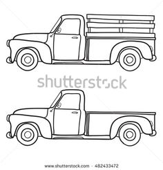 Retro Pickup Truck Vector Doodle Illustration Stock Vector (Royalty Free) 482433472 – Cars is Art