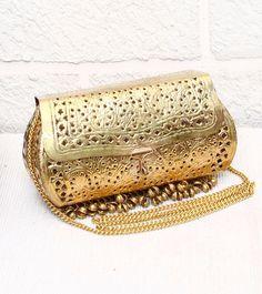 White & Gold Embellished Metal Sling Bag | Indian Bags | Pinterest