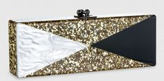 Edie Parker 'Favia' Clutch in gold confetti w/ black and white triangle inlay.