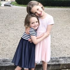 Two beautiful sisters wearing Milly dresses ;) Ready to play all day long our jersey twirling dresses! https://mytwirl.co.uk/collections/summer-collection-is-here/products/millystripeballetdress #girlsdress #girlsdresses #strippeddresses #matchingsisters #summerdresses #playdress #navystripped #pinkstripped #ballerinadress