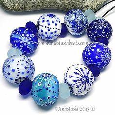 "Anastasia Lampwork Beads 8 ""Snowflakes"" SRA | eBay"