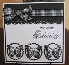 handmade birthday card ... black and white ... butterflies on circles ... plaid ribbon on lacy scallop border ... like it!