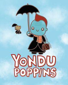 Yondu Poppins with bonus Baby Groot (because Baby Groot!!) #yondu #marypoppins #babygroot #gotgvol2 #guardiansofthegalaxyvol2 #michaelrooker #mintmintdoodles