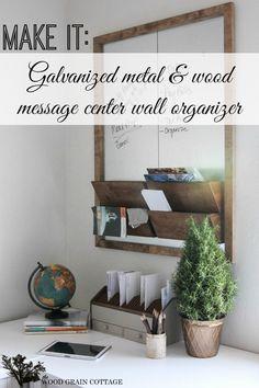 Galvanized Metal and Wood Wall Organizer Message Board - Diy tutorial | #organize #office #messageboard