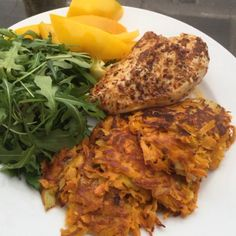 """Are you keen to get lean? If you are try this post workout lean winner! Carrot, spring onion & sweet potato Rosti's with Peri Peri Chicken and rocket…"""