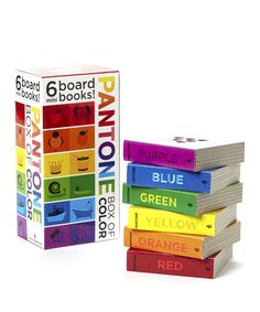 This beautiful box is brimming with gorgeous Pantone colors and surprises. With a volume for each color of the rainbow—red, orange, yellow, green, blue and purple—these six chunky board books feature simple peek-through cutouts that transform as little ones turn the pages. Simple text prompts parents and children to label objects and observe lighter and darker shades of the same color family, encouraging a new way of noticing the surprisingly colorful world!<...
