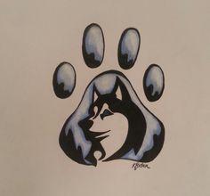 Colo Pencil Husky Pawprint by KForstnerArt on Etsy, $18.00