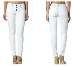Miss Me White 4 Button Skinny Jeans - 25-31 - $89.5 Thurs-Sat Specials  * Super Mystery Discount Drawing! From 20 to 50% off  (excluding name brands) * 50% off SALE! GRETCHEN SCOTT & JUDE CONNALLY ALL STYLES 50% OFF * Shoes, Scarves, Leggings Table and MORE