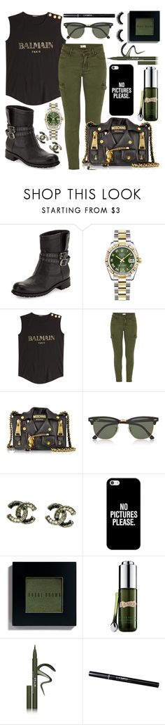 """""""Balmain Army"""" by brooklynbroadway ❤ liked on Polyvore featuring Jimmy Choo, Rolex, Balmain, Mother, Moschino, Ray-Ban, Chanel, Casetify, Bobbi Brown Cosmetics and La Mer"""