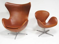 Arne Jacobsen swan chair & egg chair in cognac leather by Fritz Hansen