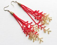 Coraling bead fringe Red and Gold Beaded Branch Earrings – Red and Gold Long Coral Beaded Earrings – Red Gold Beaded Branch Fringe Earrings – Jewelry Gift Seed Bead Jewelry, Bead Jewellery, Seed Bead Earrings, Beaded Necklace, Fringe Earrings, Lace Jewelry, Beaded Earrings Patterns, Bead Loom Patterns, Beading Patterns