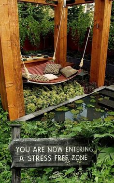 Love this idea for a hammock, maybe in the far right corner of the yard!