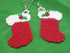 Christmas Stockings Beaded Dangle Earrings, Peyote Stitched, Delica Beads FREE SHIPPING