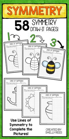 Symmetry Activities for 2nd, 3rd, 4th, and 5th grade is fun with Lines of Symmetry Draw It printables! Teaching symmetry is easy with these fun drawing projects for kids. Students love coloring in the finished symmetry drawings, too. No more boring worksh