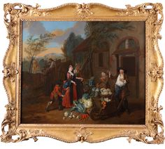 Joseph Van Aken (Flemish 1709-1749) Estimate: £7,000 - £10,000.  A lady and her maid at a vegetable sellers cottage, a thief attempting to steal her watch. Oil on canvas, in a carved wood frame 63 x 76cm; 24¾ x 30in. To be sold in our Old Masters, British & European Paintings sale on Wednesday 6th March. Glass Furniture, European Paintings, Japanese Painting, Old Master, Wallis, Tribal Art, Painting Frames, Asian Art, Rugs On Carpet