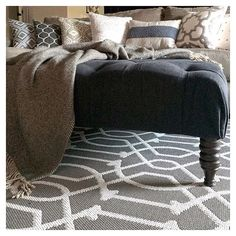 The ladies from #mydesigndetails want to see our #ottomans this week! This ottoman gets used so much in our home and is one of the dogs favorite spots to hang out! #ahouseandadog #livingroom #tuftedottoman #neutraldecor #homedecor