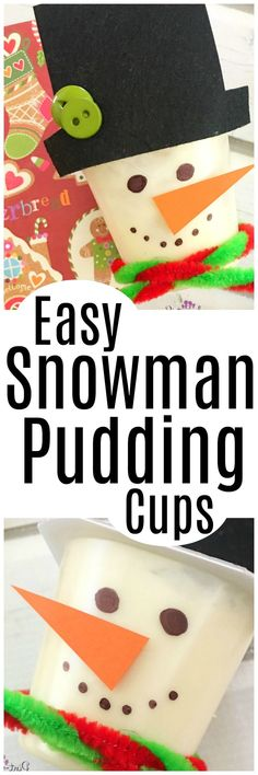 Easy snowman pudding cups that double as a super simple recipe and craft for the holidays! Enjoy snowman activity and craft season! Easy Christmas Cookie Recipes, Holiday Desserts, Holiday Treats, Christmas Treats, Kids Christmas, Fun Desserts, Holiday Parties, Holiday Fun, Best Dessert Recipes