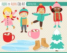 Ice Skating Clip Art - color and outlines $